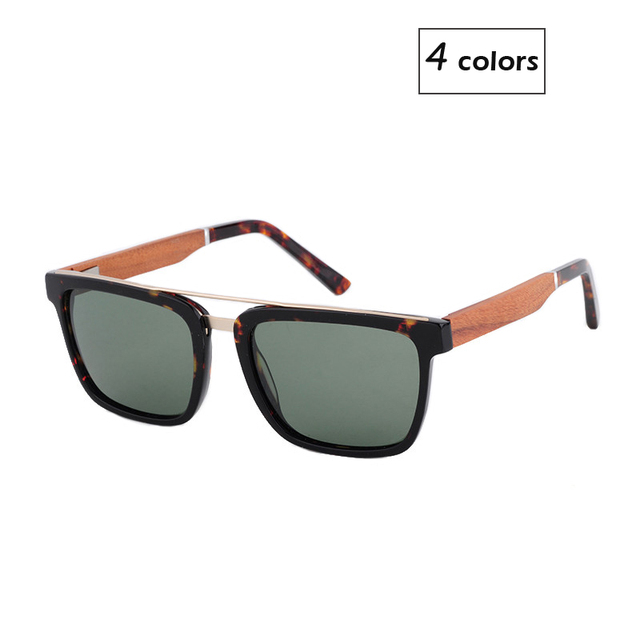New Product Men Women Wooden Bamboo Polarized Sunglasses Wood Metal PC Splice Frame