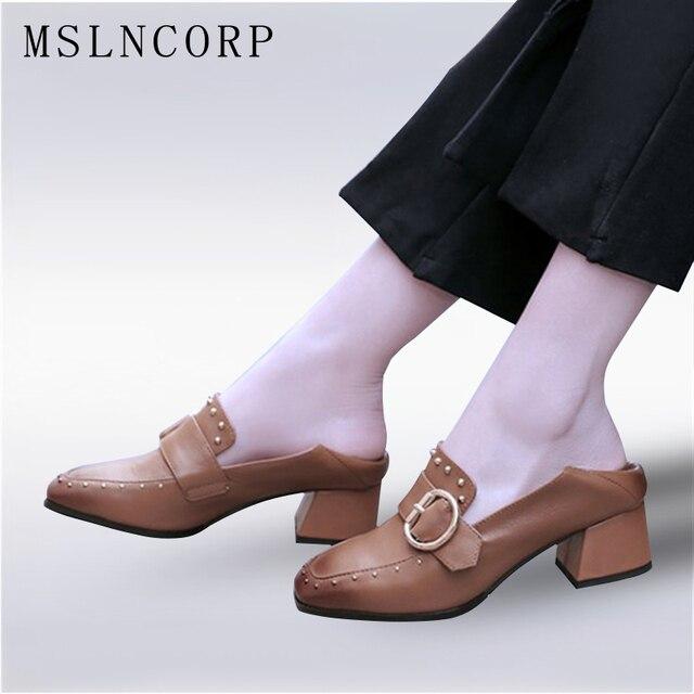 Zapatos mocasines alto talón bombas, remaches cuadrados dedo del pie, mujer mocasines zapatos ocasionales
