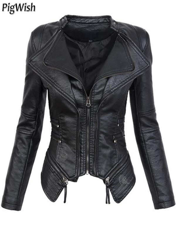 2018 Autumn Women faux Leather Jacket Coats Black moto jacket Zippers Long sleeve Goth Female PU