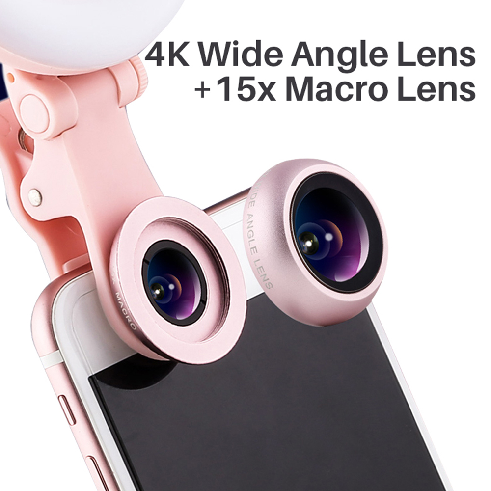 Portable 36 Led Selfie Photography Enhancing Ring Light for Cell Phone with Phone Camera Wide-Angle Lens