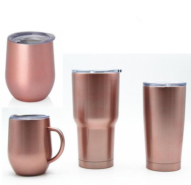 595b3283bd4 10pcs Rose Gold egg cups wine glass 9oz 12oz double wall stainless steel  beer vacuum insulated mug 20oz 30oz tumbler coffee mu