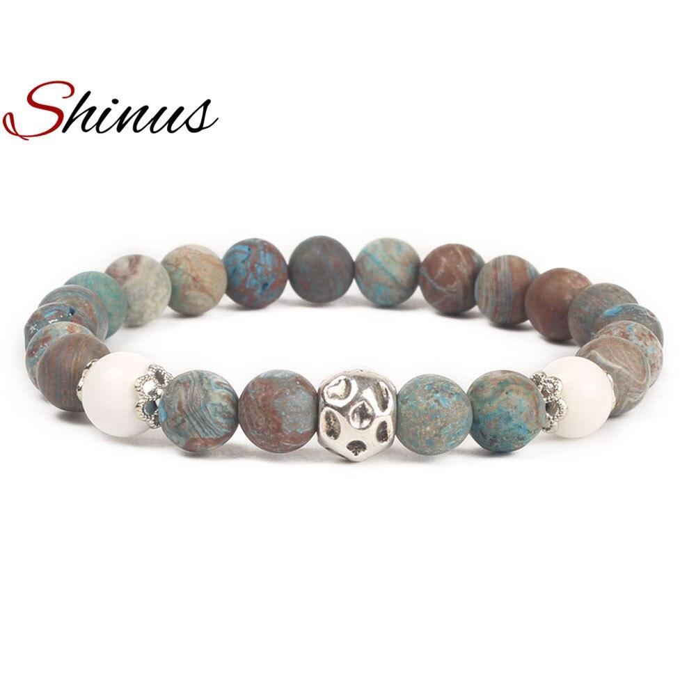 Shinus Bohemia Bracelet Women Chakra Bracelets Men Meditation Jewelry Healing Natural Stone Beaded Stainless Steel Beads Lovers