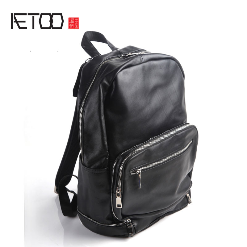 AETOO Pure leather Europe and the United States and Japan men and women fashion personality shoulder bag leather backpack street aetoo europe and the united states fashion new men s leather briefcase casual business mad horse leather handbags shoulder