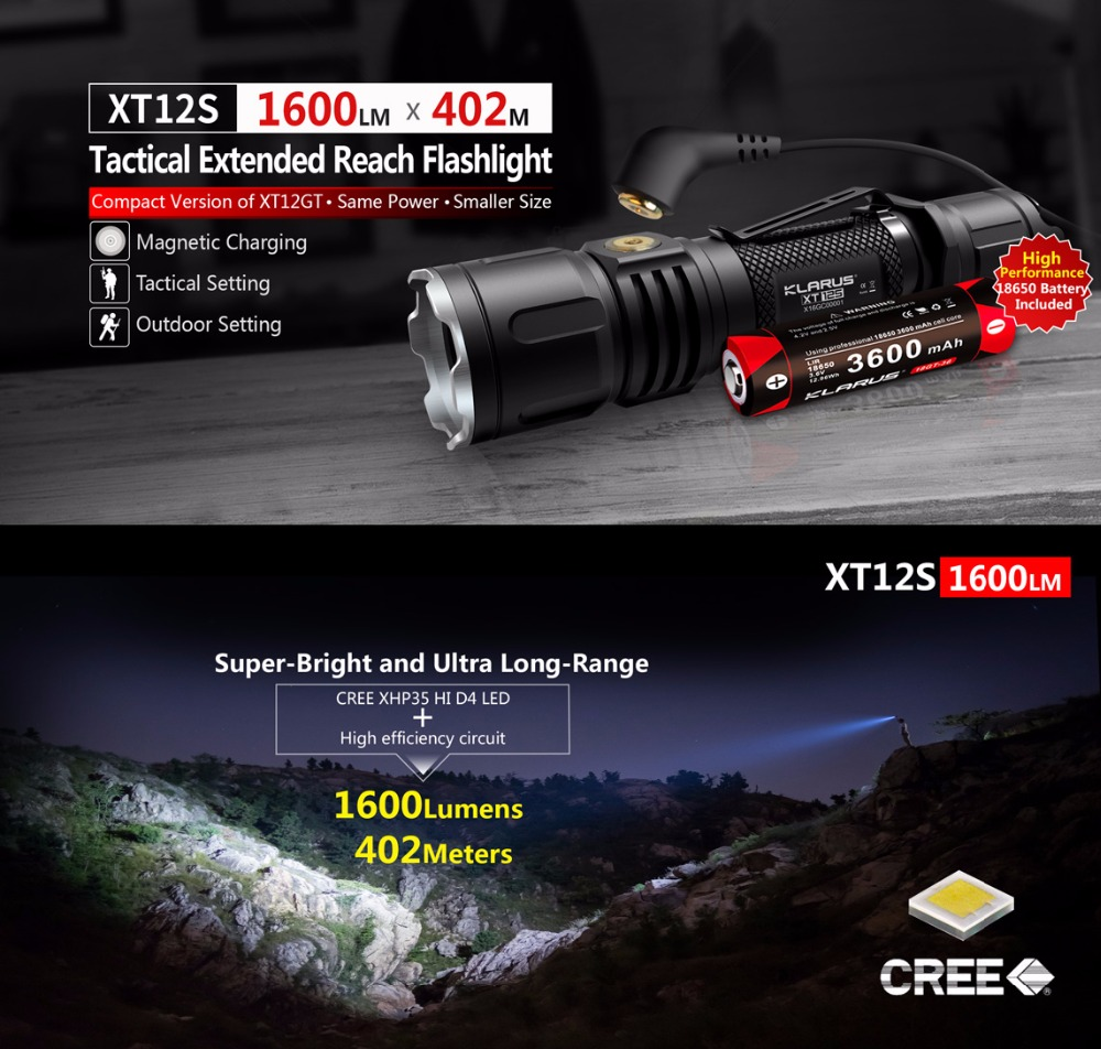 KLARUS XT12S Tactical LED Flashlight 1600 Lume CREE XHP35 HI D4 LED Torch with USB charging +3600mAh 18650 Battery for Hunting newest klarus xt12gt cree led xhp35 hi d4 1600 lumens tactical flashlight usb charging by 3600 mah 18650 includ li ion battery