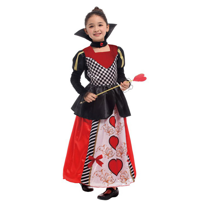 Kids Children Deluxe Red Queen Of Hearts Costumes For Girls Halloween Purim Carnival Christmas New Year Party Fancy Dress