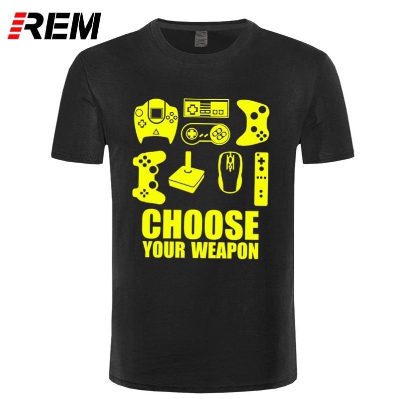 REM New Summer Men's   T  -  shirt   Choose Your Weapon Gamer   T     Shirt   Video Game Controller Tee Cotton Short Sleeve Tshirt