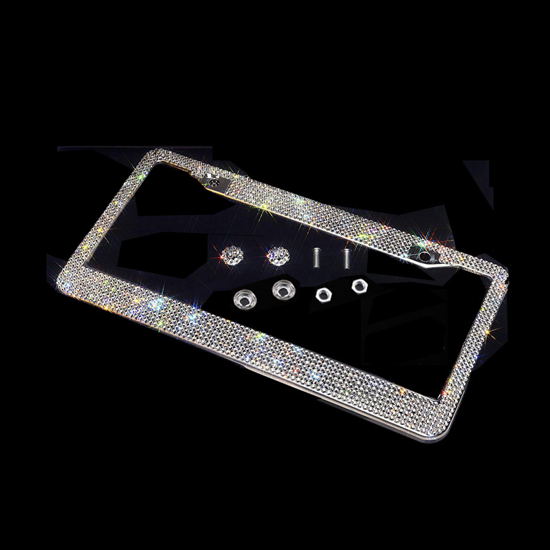 Bling Crystal License Plate Frame Women Luxury Handcrafted Rhinestone Car Frame Plate With Ignition Button For USA Canada Truck