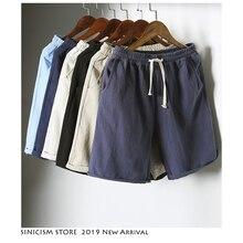 Sinicism Store Colorful Cotton Linen Summer Shorts Men 2019