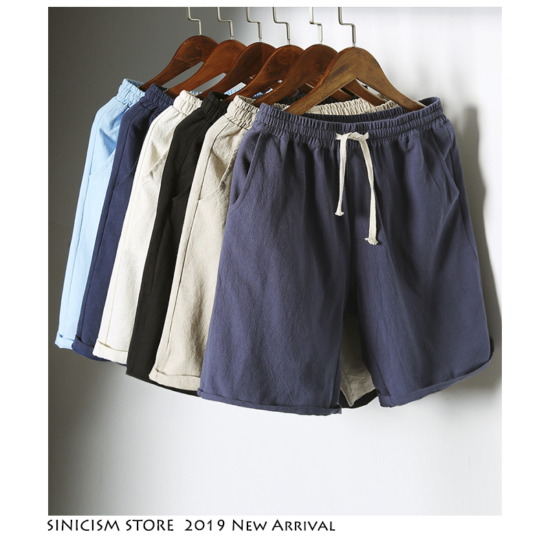 Sinicism Store Colorful Cotton Linen Summer   Shorts   Men 2019 Beach   Shorts   Mens Khaki Joggers   Shorts   Casual White Sweatshorts 5XL