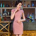 Китайских женщин Атласная Cheongsam Qipao Хлопок и Лен Короткое Платье S, M, L, XL, XXL Китайские Восточные Платья Традиционный Китайский платье