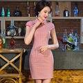 Mulheres chinesas de Cetim Cheongsam Qipao Algodão & Vestido De Roupa Curta S M L XL XXL Vestidos Oriental Chinesa Tradicional Chinesa vestido