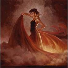Belas pinturas a óleo mulher Crescendo II (Laranja Saia) óleo sobre tela pintados à mão-de Alta qualidade