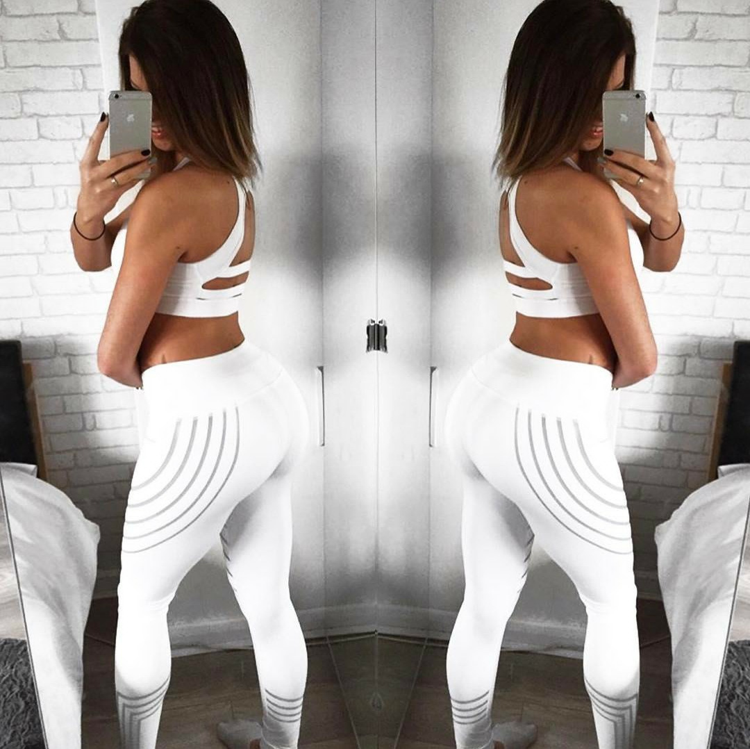 Sport Women Yoga Pants Fitness Leggings Light High Elastic Shine Leggins Workout Slim Fit Women Pants Black Jeggings Trousers 2