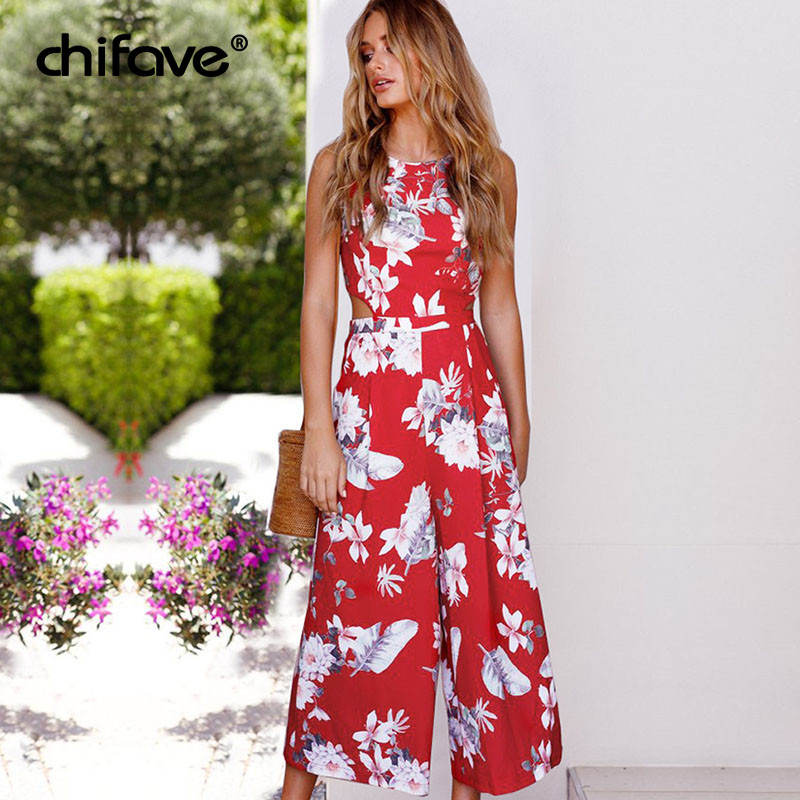5ab8bc022d67 2018 Women Summer Jumpsuit Casual Boho Floral Printed Beach Rompers  Playsuits Vintage Jumpsuit Wide Leg Pants Overalls chifave-in Jumpsuits  from Women s ...