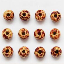 100 шт/лот 9*10 мм деревянные бусины с леопардовым узором «сделай