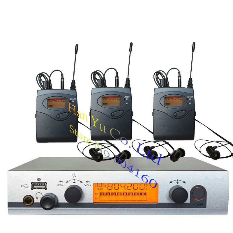 3 Receivers Pro ear monitors wireless Feedback System with in-ear headphone for Stage Performance Club Bar TV station Monitoring