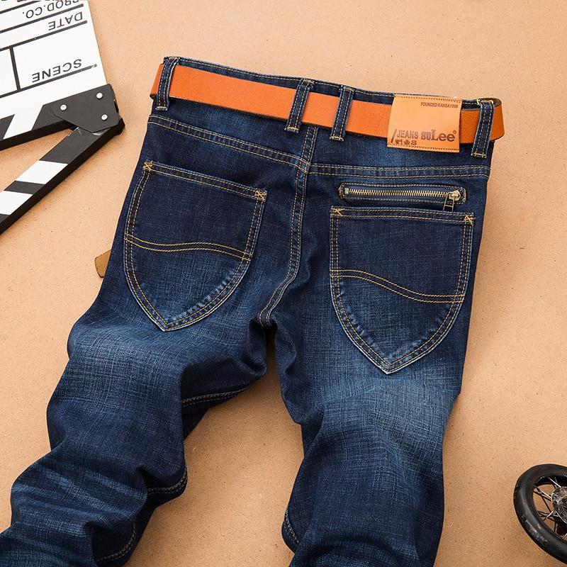 2016 Winter Autumn Mens Fashion Slim Fake Zipper Blue Denim Jeans for Men Big and Tall Size Large Plus