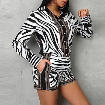Women Zebra Print Buttoned Shirt & Zipper Short Sets Full Casual Single Breasted Turn-down Collar Shirt Above Knee Mini Short 5