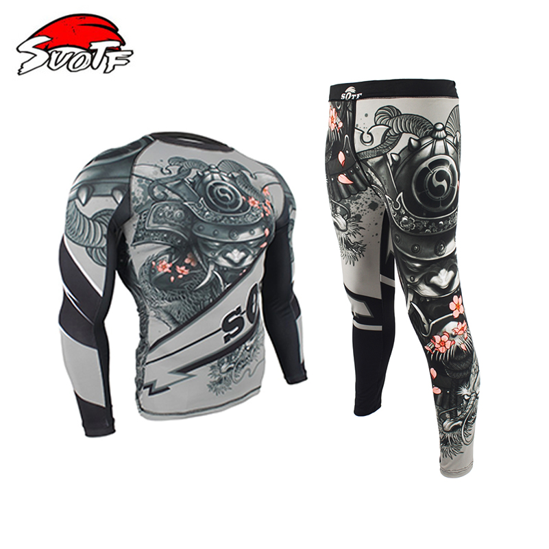 Second Skin Boxing Compression Jersey+Pants Rashguard KickBoxing Cycling MMA Tight Long T-Shirts Trousers Muay Thai Fightwear