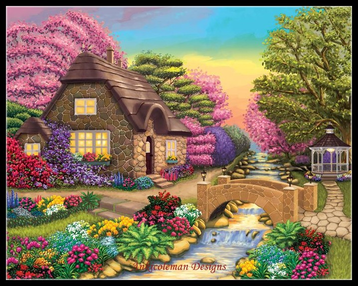 Embroidery Counted Cross Stitch Kits Needlework - Crafts 14 ct DMC Color DIY Arts Handmade Decor - Dream Cottage