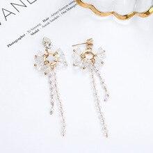 Korean version of fashion ear accessories long Pearl Ruisu pendant simple personality sweet temperament crystal earrings. korean version of ins fashion earrings pearl trend earrings temperament goddess simple jewelry