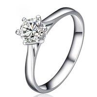 ANI 18 К из белого золота (AU750) обручальные кольца 0,5 КТ Certified я/SI круглой огранки бренд класса люкс 6 когти Обручение кольцо для Для женщин