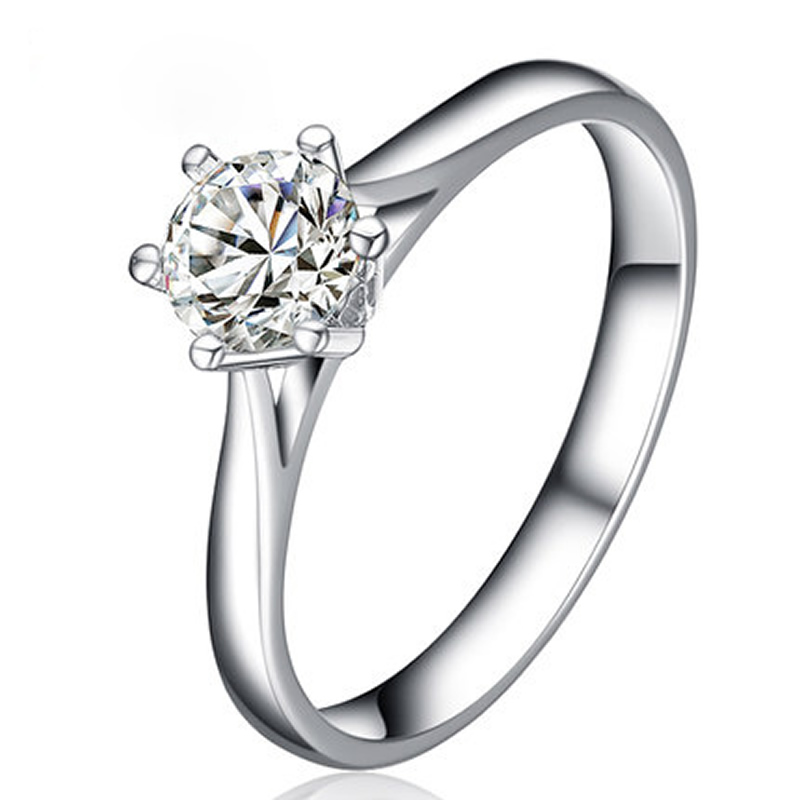 ANI 18K White Gold (AU750) Wedding Rings 0.5 CT Certified I/SI Round Cut Diamond Brand Luxury 6 Claws Engagement Ring for Women цена 2017