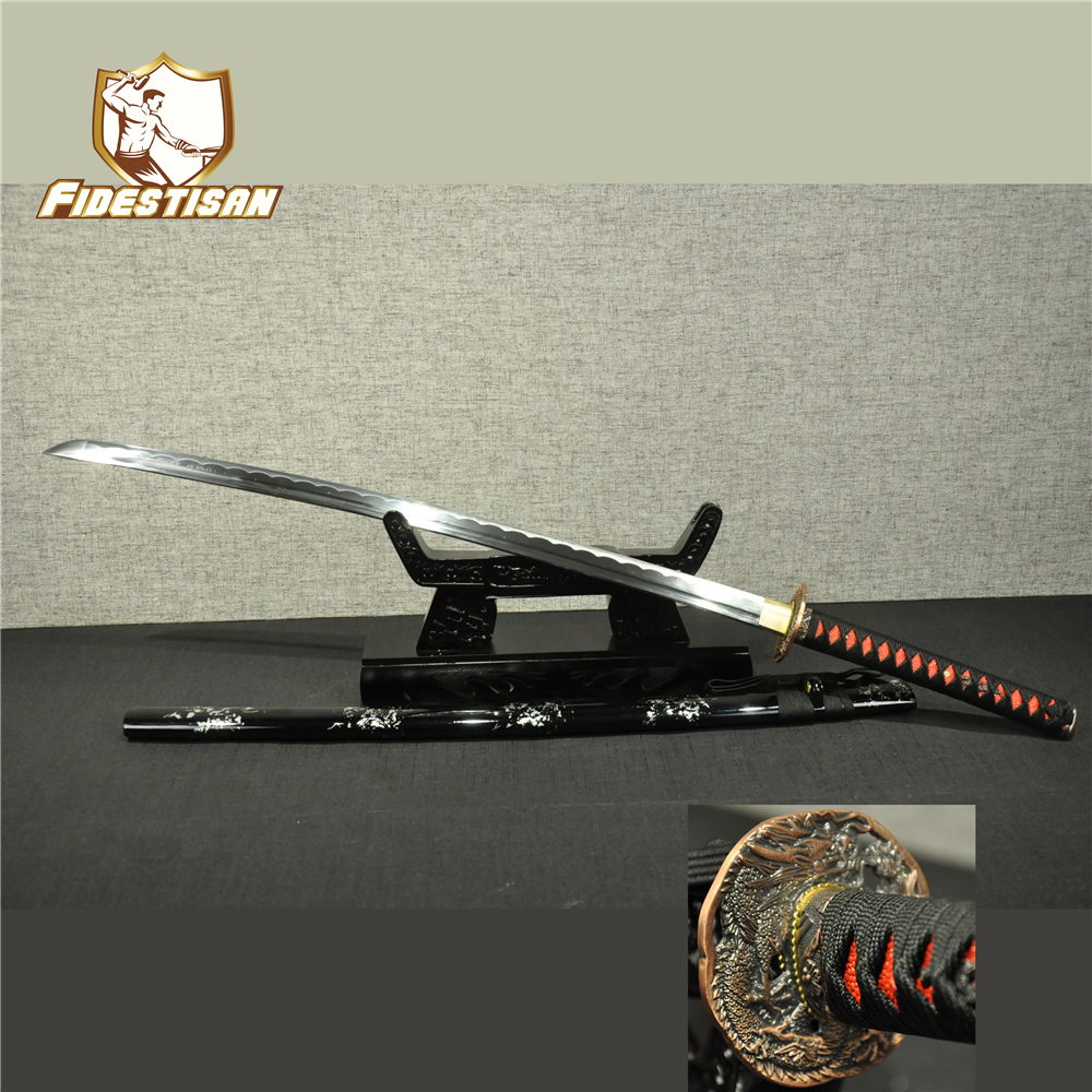 Nouveau katana samouraï japonais épée samouraï wakizashi 1060 carbone hamon lame acier bâton couteau métal katana pleine tang forte chaude