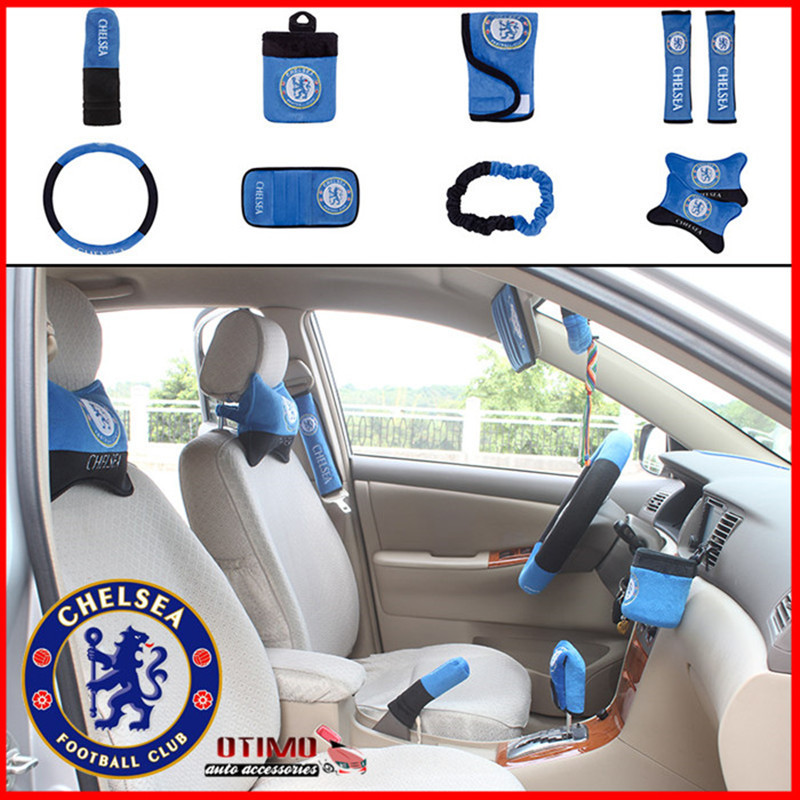 10 Pcs Set Automotive Car Interior Decoration Accessories Sports Chelsea Football Club Seat Covers Supports Steering Wheel Cover In Automobiles