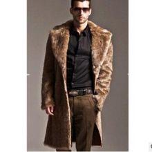 b Men Fur Coat Winter Faux Outwear On One Sides Punk Parka Jackets Long Leather Overcoats Genuine Clothing