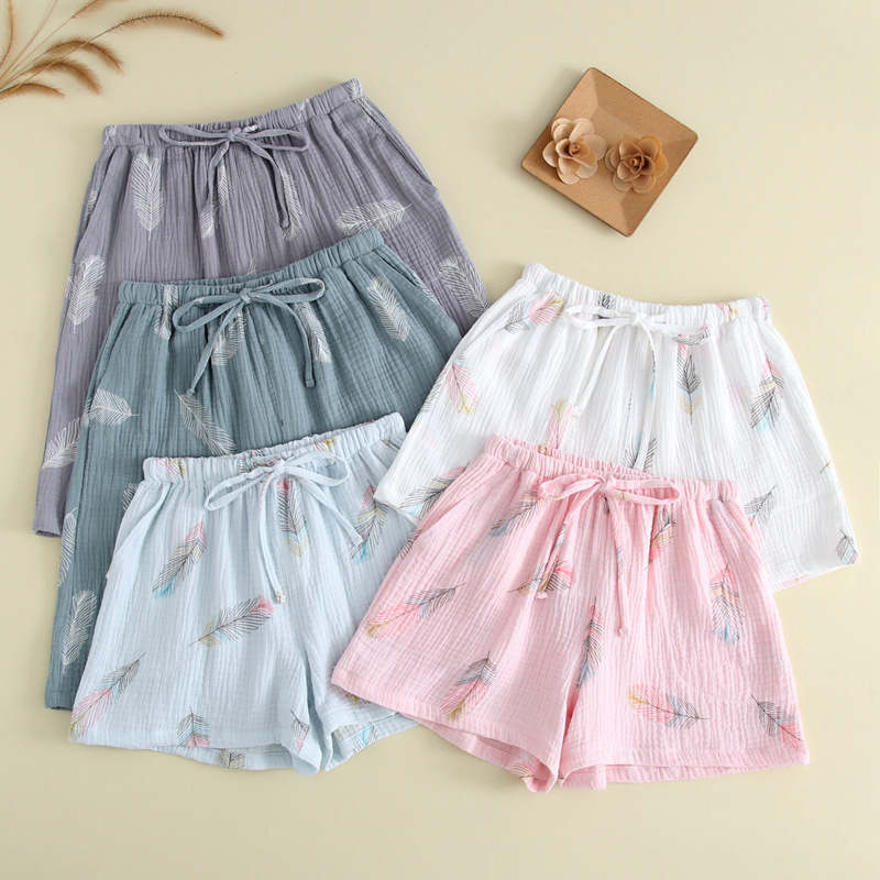 New Summer Couple 100% Cotton Gauze Crepe Shorts Feather Printing Lounge Sleep Shorts Men And Women Bottoms Lounge Pants