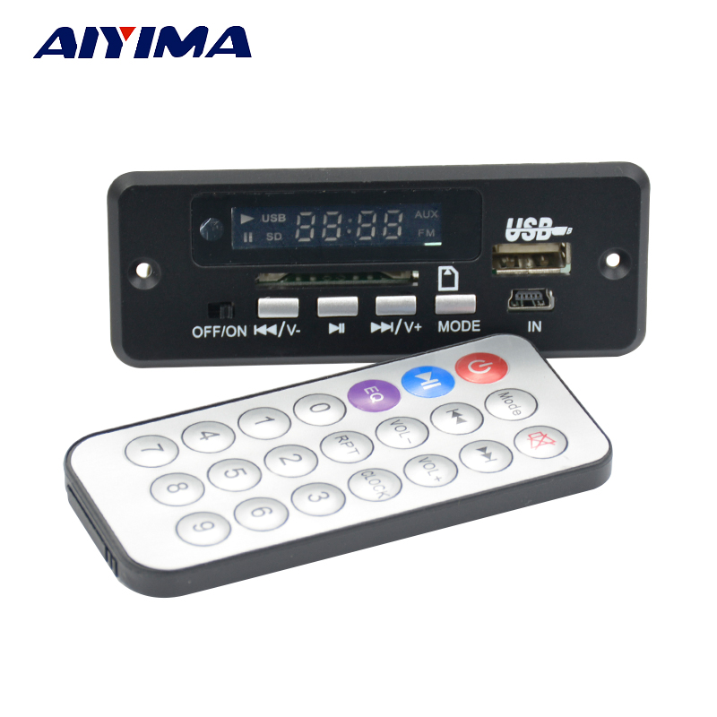 Carte de décodage audio MP3 Bluetooth Aiyima 5V avec amplificateur 3W * 2 Radio AUX recharge appels mains libres excellents sons