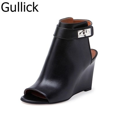 Hottest Selling Women Solid Black Leather Peep Toe And Pointed Toe Wedge Sandals Autumn Fashion Ankle Strap Buckle Decor Shoes цена