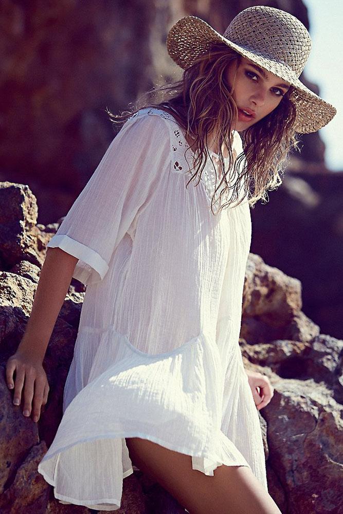 2018 Robe D'été Femmes Bikini Maillots De Bain Dentelle Creux Couverture Ups, blanc Noir Crêpe Coton cover-ups Plage Robes Beachwear 41529