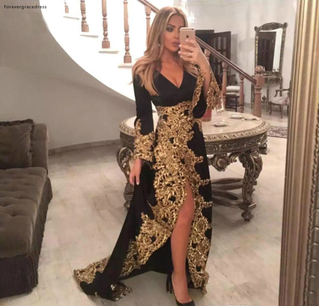 Black V Neck Long Sleeves Evening Dresses 2019 New Arrival Gold Appliques Holiday Wear Formal Party Prom Gowns Plus Size 1