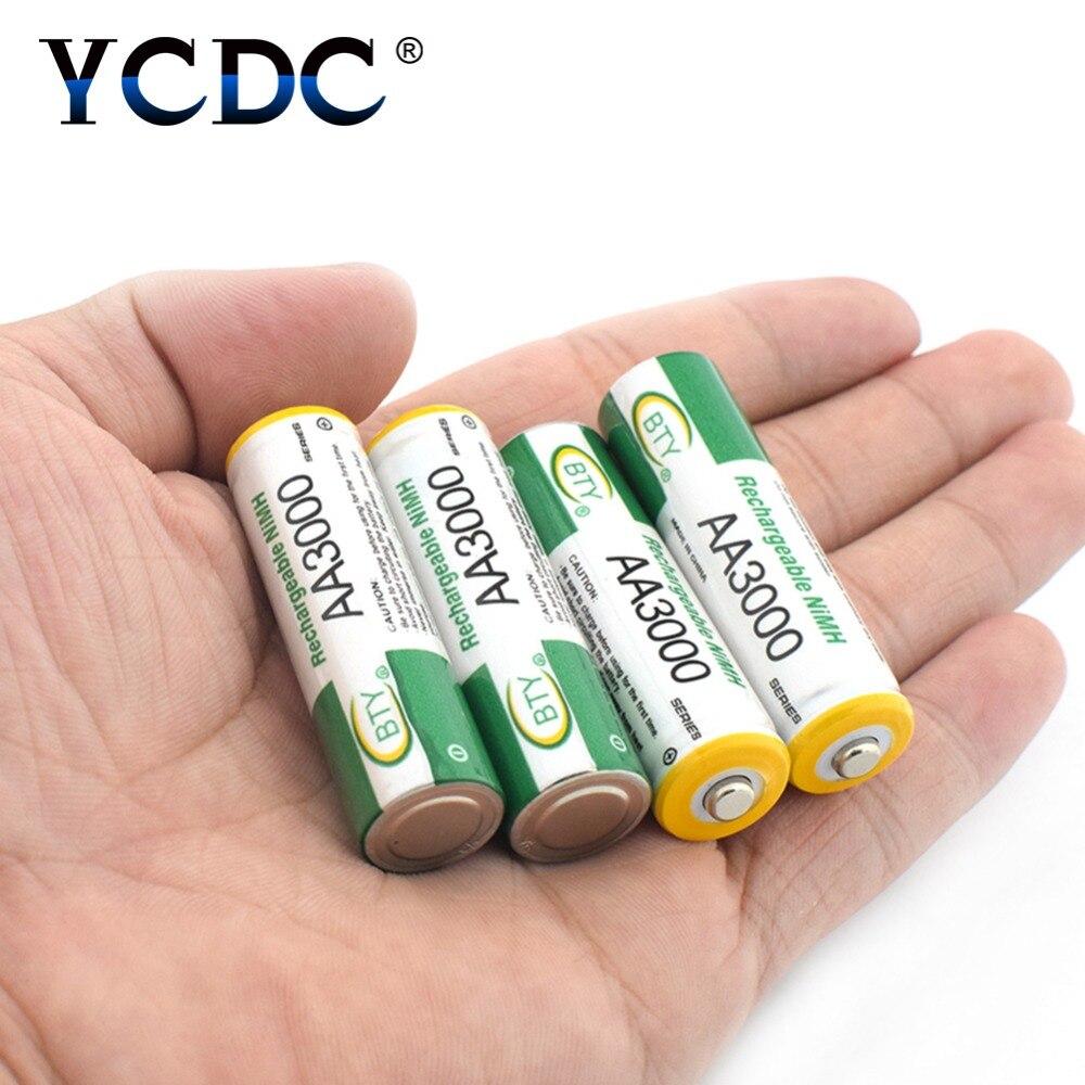 Marca batería recargable BTY AA 3000 mAh Pre/estancia cargo células Ni-MH recargable baterías 4-20 unids AA LR6 HR6 KAA