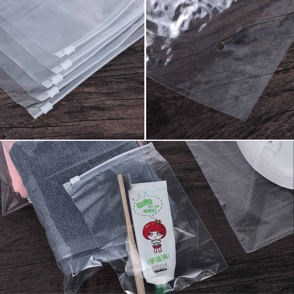 5PCS Clear Transparent Plastic Package Cloth Travel Storage Pouch Waterproof Fresh Bag Zip self Sealing Plastic Bags Organize