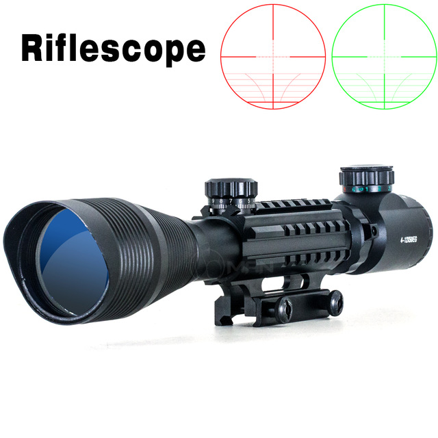 Hunting Riflescope 4-12X50 EG Optical Rifle Scope Red Green Dual Illuminated W/Side Rails & Mount Free Shipping