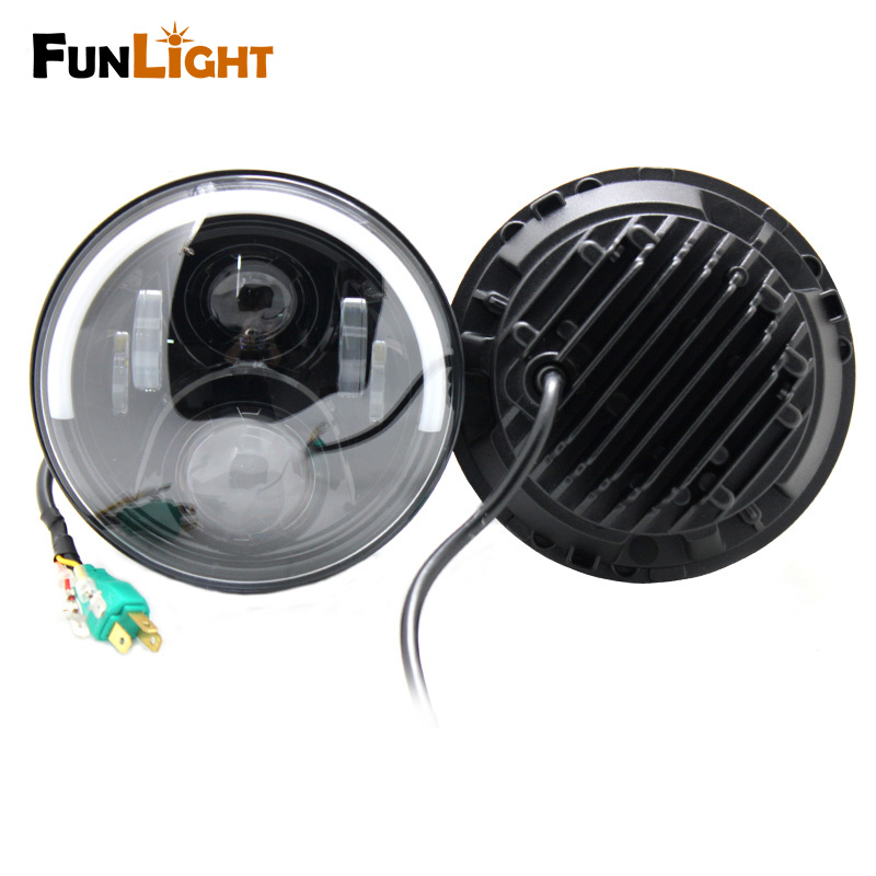 7 60W Round Car LED Headlight with Halo Angel Eye & Turn Signa For Jeep Wrangler H4 DRL Hi/Lo Beam Headlamp Light Bulb