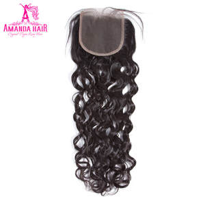 Amanda Malaysia Water Wave Lace Closure Remy Hair 4*4 Middle Part Top Closure 100% Natural Color Human Hair