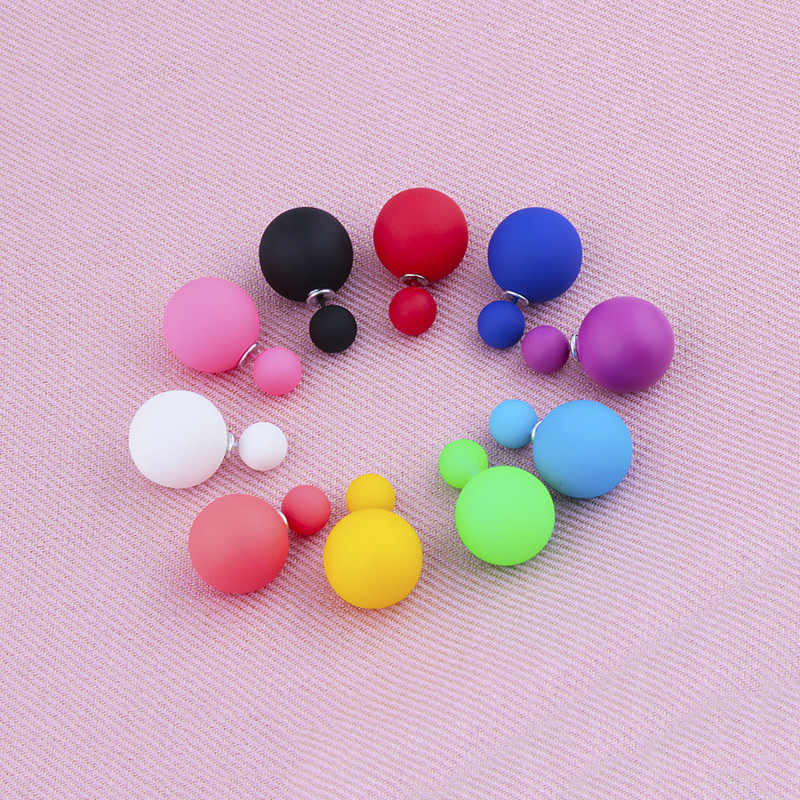 Double Side Simulated Pearl Balls Stud Earrings For Women Fashion Candy Colors Female Pusety Earring Girls Ear Jewelry Brincos