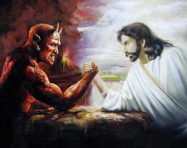 100%Handpainted Jesus and the Devil Arm Wrestling 50x60cm ...