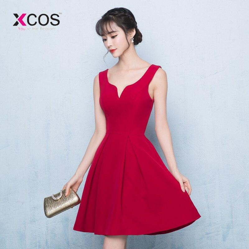 Rouge court retour robes 2018 pas cher Satin col en V Zipper dos Mini Junior retour robe de bal vestidos cortos