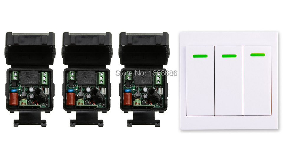 New digital Remote Control Switch AC220V 3* Receiver Wall Transmitter Wireless Power Switch 315MHZ Radio Controlled Switch Relay