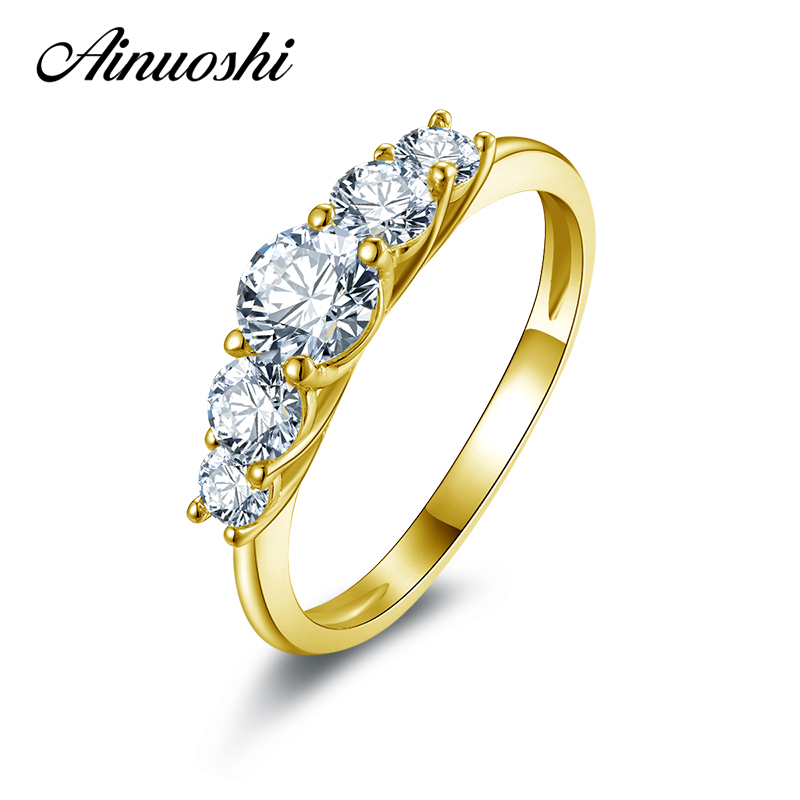 AINUOSHI 10K Solid Yellow Gold Wedding Rings Sona Simulated Diamond Engagement Jewelry Finger Bijoux Women Birthday Party Ring ainuoshi 10k solid yellow gold wedding ring sona simulated diamond jewelry lady anillos new flower shape women engagement rings