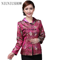 Burgundy Chinese Women's Satin Jacket Classic Style Print Tang Suit Appliques Button Floral Coat Size S M L XL XXL XXXL 4XL