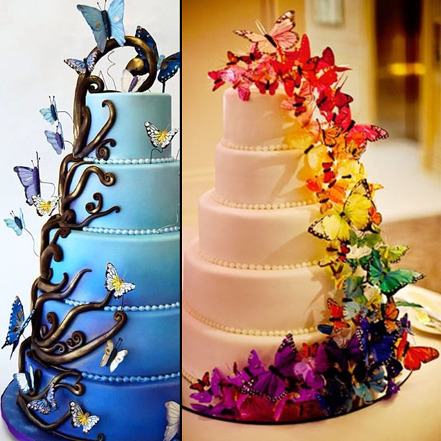20pcs/set Pvc Butterfly Wedding Cake Topper/wedding Cake Stand ...