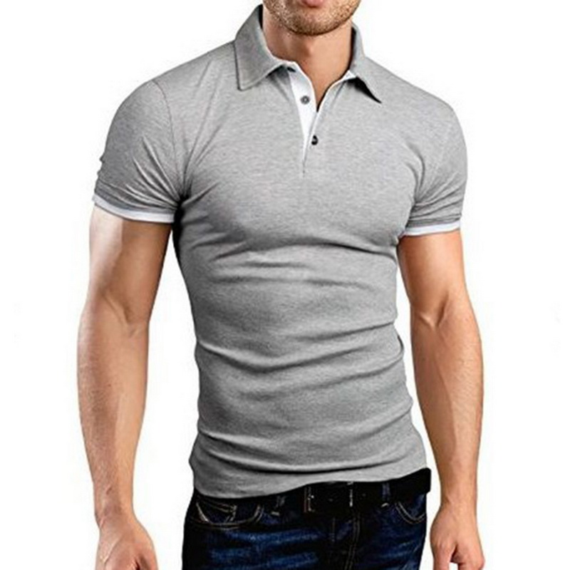2019 New Summer  Mens Polo Shirt Short Sleeve Turn-over Collar Slim Tops Casual Breathable Solid Color Business Shirt