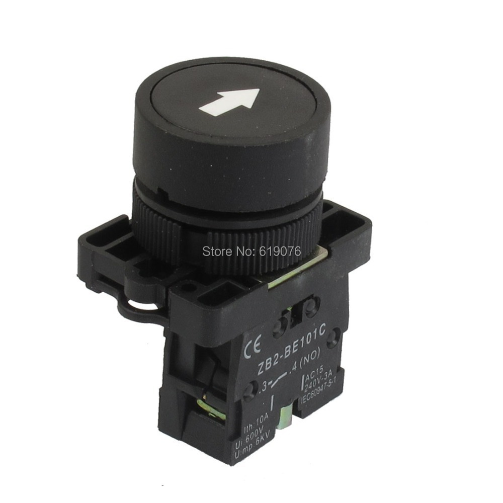 5Pcs 22mm 1 NO N/O Black Sign Momentary Push Button Switch 600V 10A ZB2-EA3351