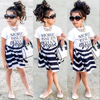 2017 Kid  Girl   baby ins high grade quality printing  tshirt and dress  baby girls clothes   set  ready in stock